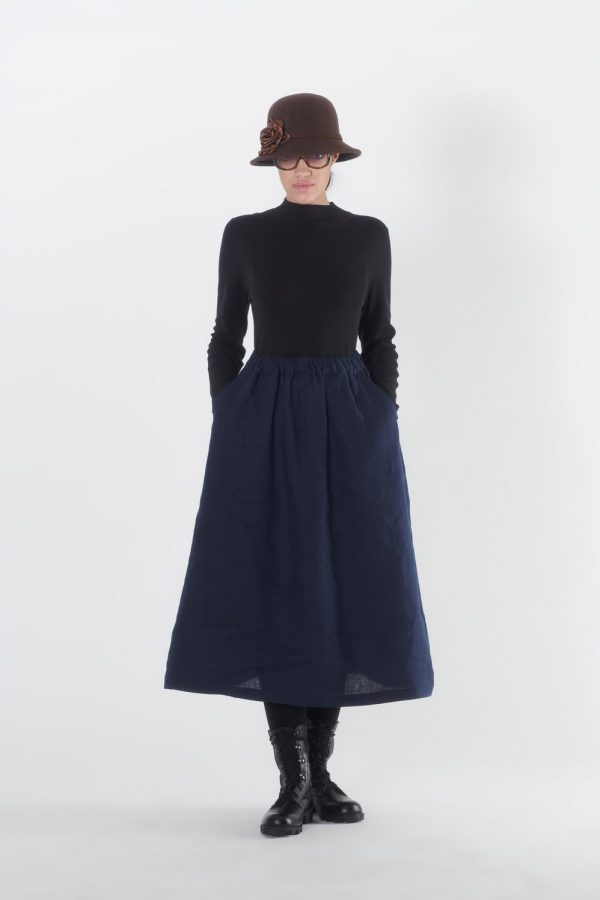 GERTRUDE SKIRT, DARK BLUE